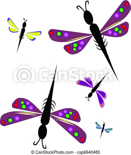 Vector Clipart of dragonflies - colorful dragonfly's on white ...