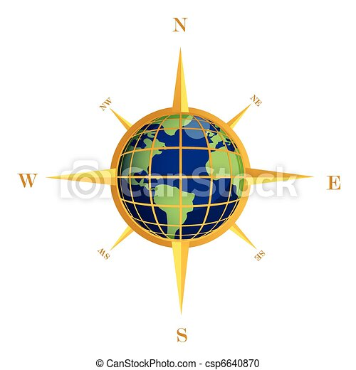 Gold Compass globe illustration - csp6640870