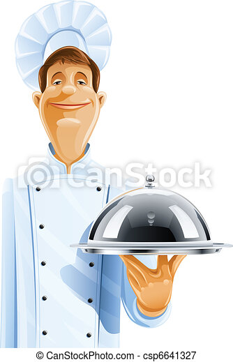 chef cook with tray and lid - csp6641327
