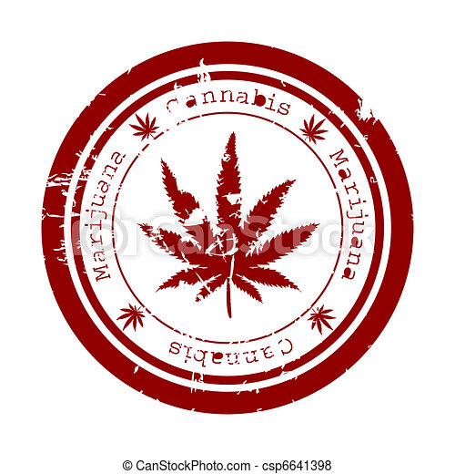 rosso, francobollo, Marijuana, foglia - csp6641398