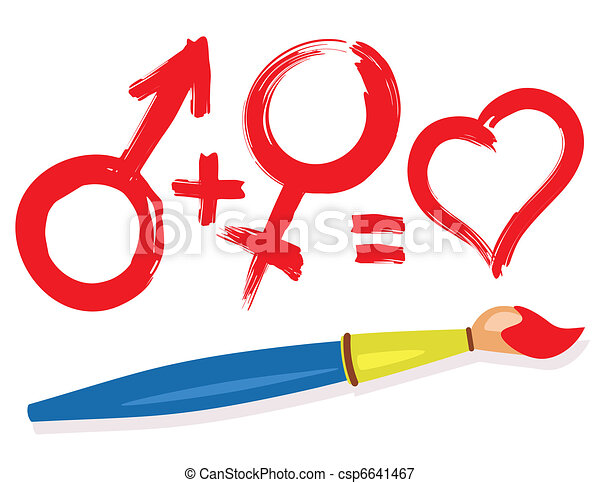 female male heart symbols and paintbrush - csp6641467