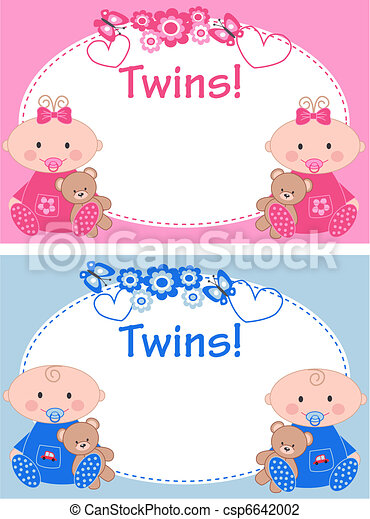 Vector Illustration of twins - newborn baby twins csp6642002 ...