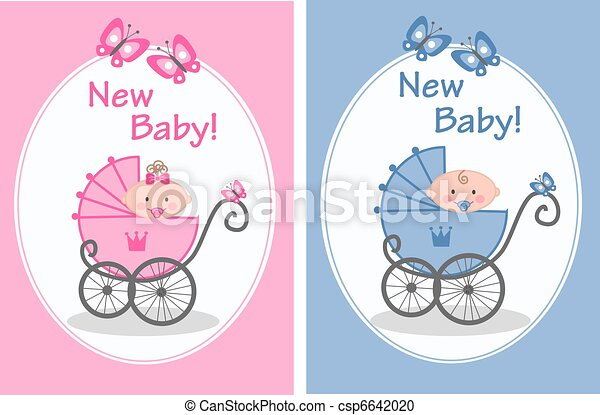 Stock Illustration of new baby - newborn baby girl and baby boy ...
