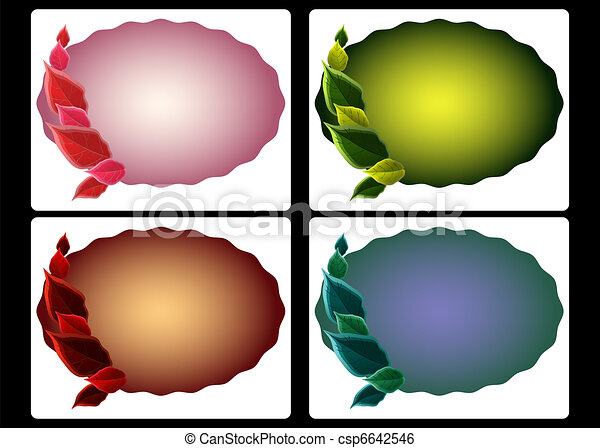 Variety of scalloped oval tags embellished with leaves in different seasonal colors - csp6642546