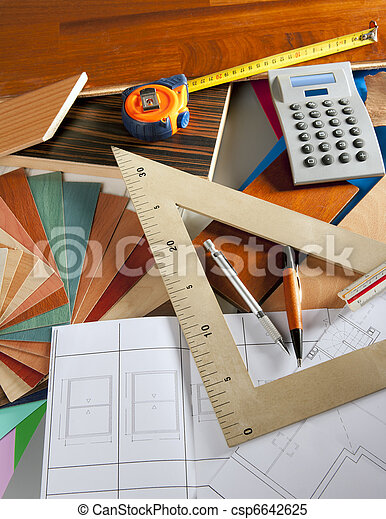 Architect interior designer workplace carpenter design - csp6642625