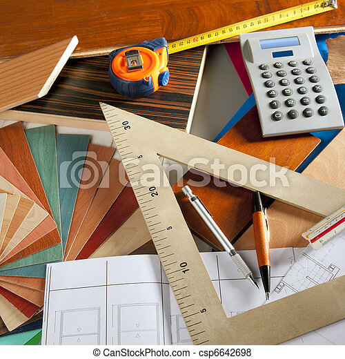 Architect interior designer workplace carpenter design - csp6642698