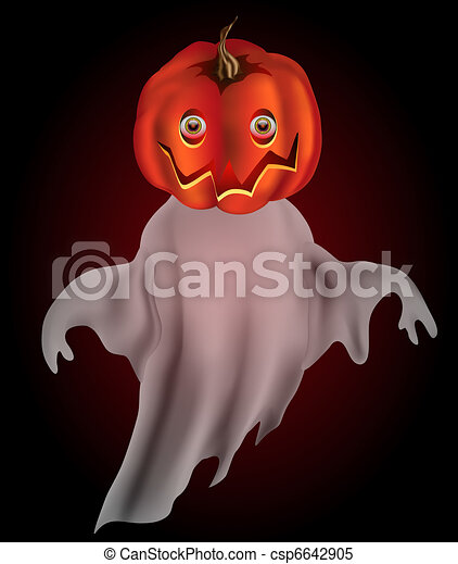 Pumpkin headed ghost with transparency - csp6642905