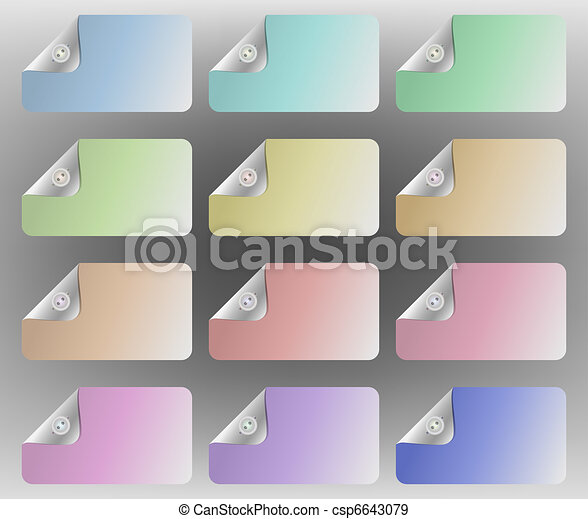 Pastel multi-colored cards with one corner appearing to be buttoned down - csp6643079
