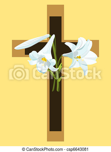 Christian cross in brown and beige with Easter lilies. - csp6643081