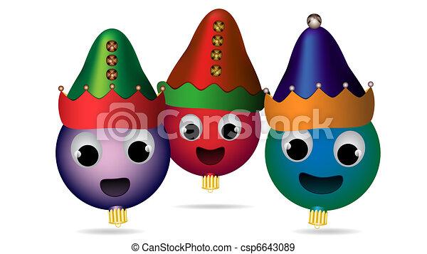 Trio of caroling Christmas ornament elves - csp6643089