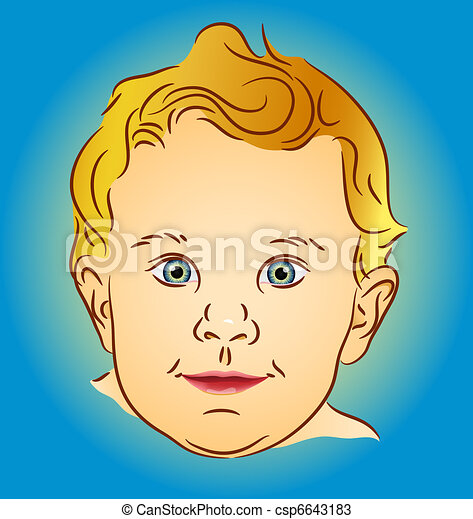 Infant portrait - blond with blue eyes - csp6643183