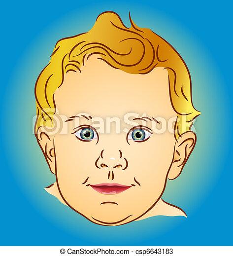 Infant portrait - blond with blue eyes - csp6643183