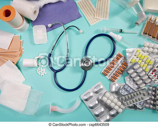 blister medical pills pharmaceutical stuff stethoscope - csp6643509