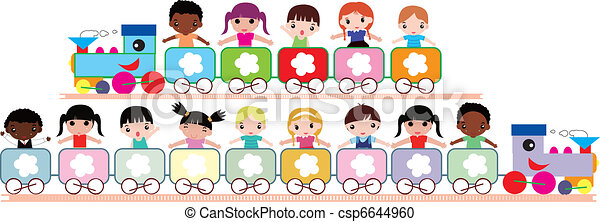 Vector Clipart of kids travel - illustration of multicultural kids ...
