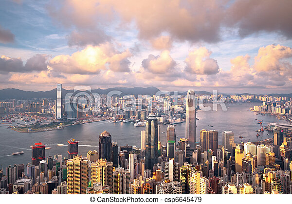 Hong Kong landmark view from the peak - csp6645479