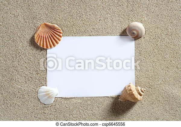 blank paper copy space summer beach sand vacation - csp6645556