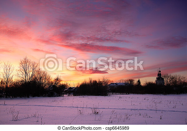 Winter sunset - csp6645989