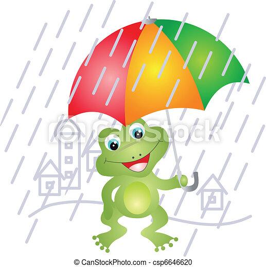 Frog under umbrella - csp6646620