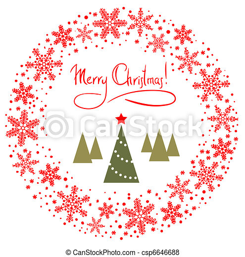Red Christmas Wreath - csp6646688