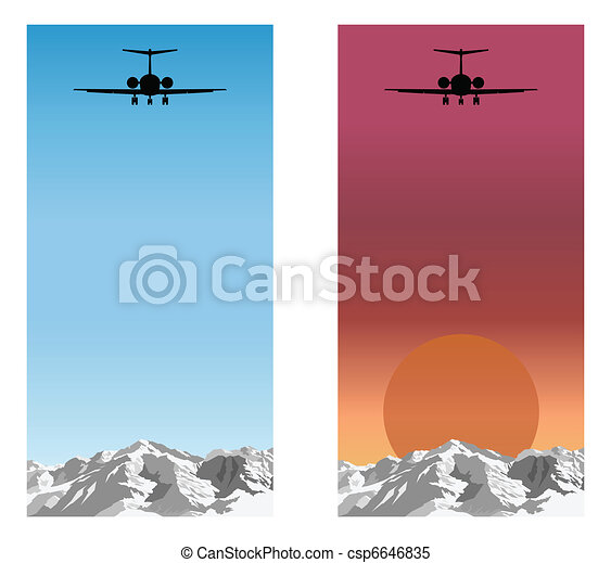 Airplane flying over mountain - csp6646835