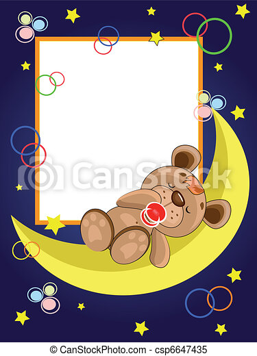 Frame with sleepping bear. - csp6647435