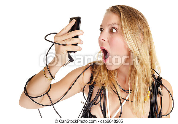 shocked woman phoning - csp6648205