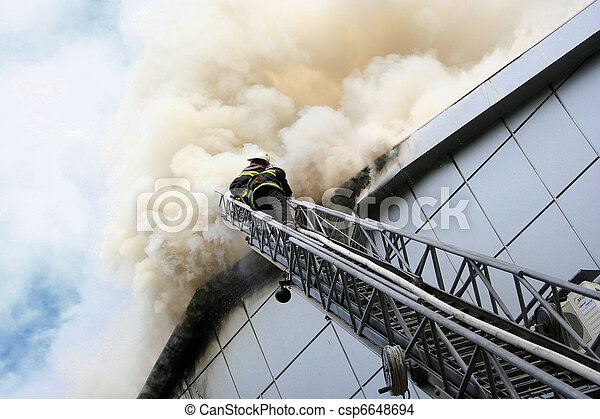 Stock Photo of Building on fire