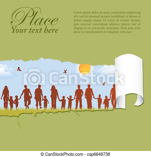 Family silhouettes through a hole in a paper - csp6649738