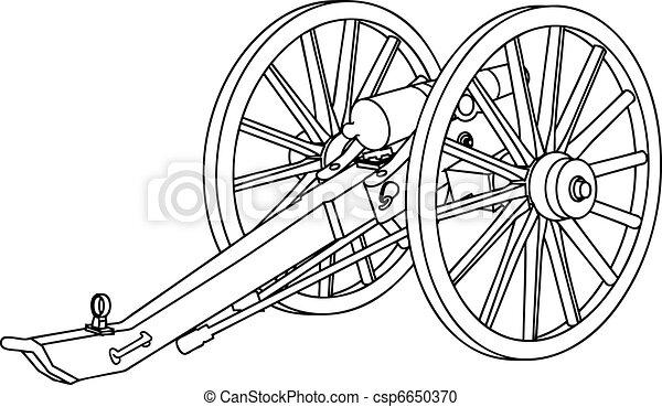 Civil War Cannon Drawing - csp6650370