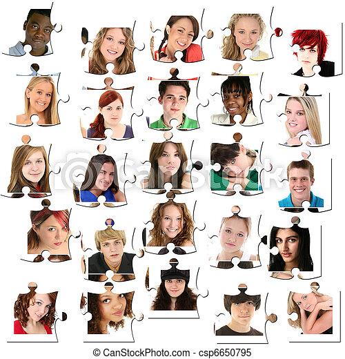 Twenty-Five Teen Faces on Puzzle Pieces - csp6650795