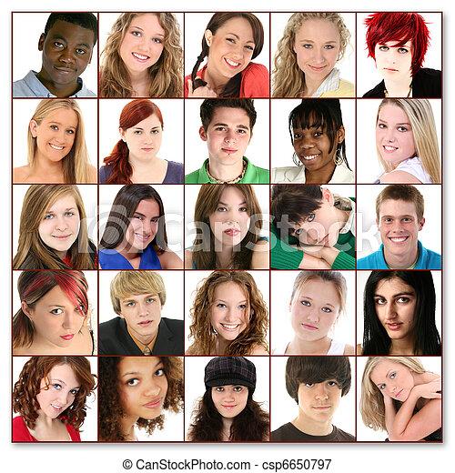 Twenty-Five Teen Faces - csp6650797
