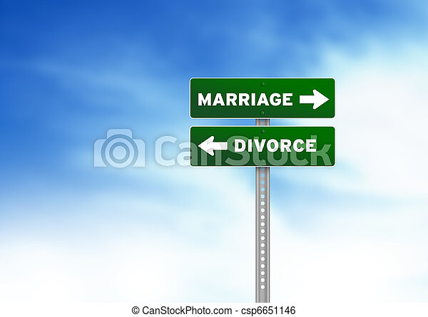 Marriage and Divorce Road Sign - csp6651146