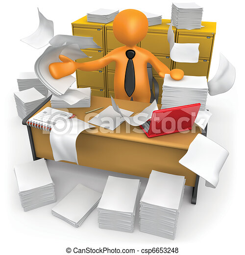 Messy Office - csp6653248