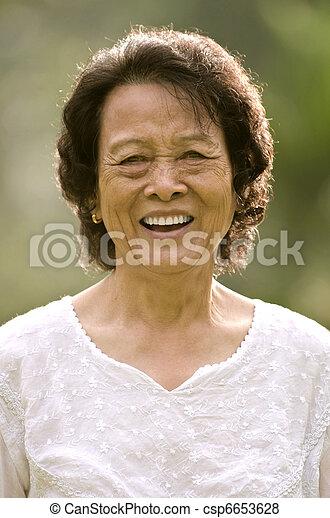 senior asian woman smiling - csp6653628