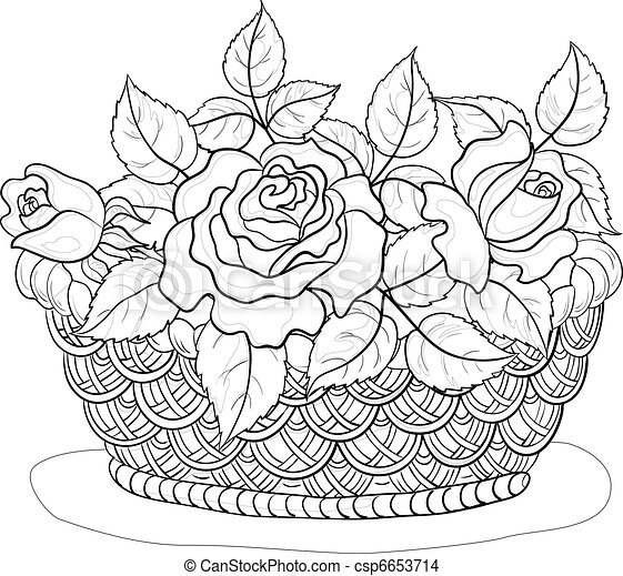 Flower Basket Drawing Basket with flowers  contours