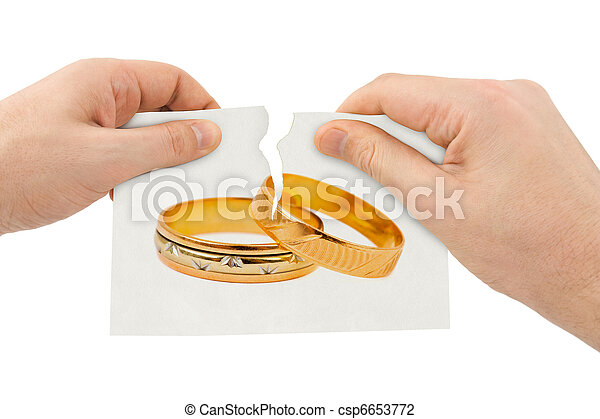 Hands tear picture with wedding rings - csp6653772