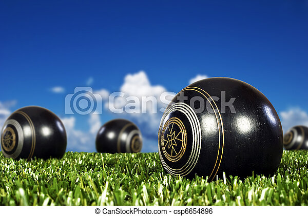 Close up of bowling balls on a bowling field - csp6654896