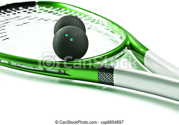Green squash racket with balls on white - csp6654897