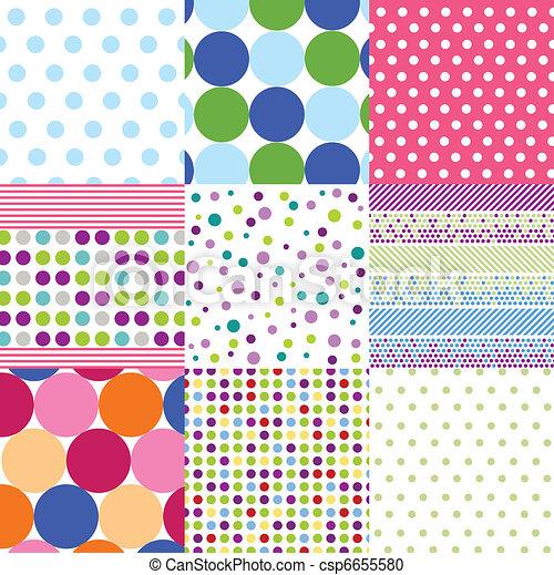 Vector Clipart of seamless patterns, polka dot set csp6655580 ...