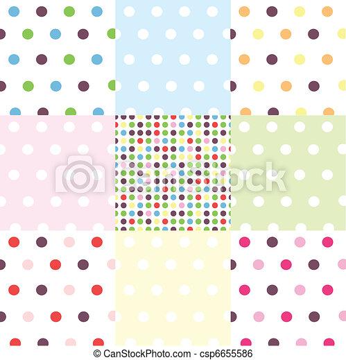 seamless patterns, polka dot set - csp6655586