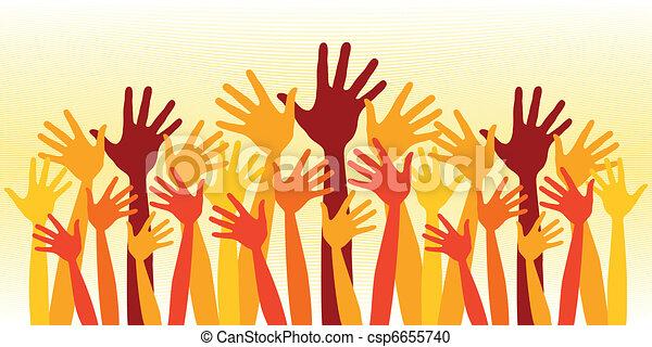 Huge crowd of happy hands. - csp6655740