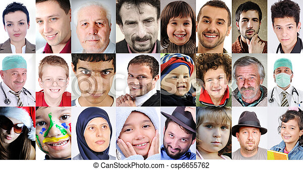 Collage of a lots of different cultures and ages, common people with different expressions - csp6655762