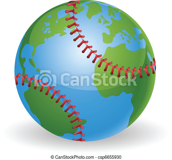 World globe baseball ball concept - csp6655930