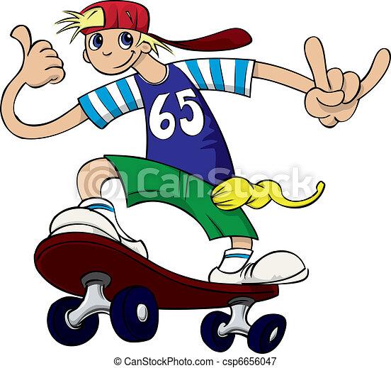 Young Boy Skateboarding - csp6656047