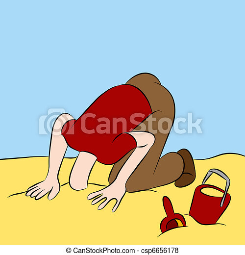 Head Stuck in The Sand - csp6656178