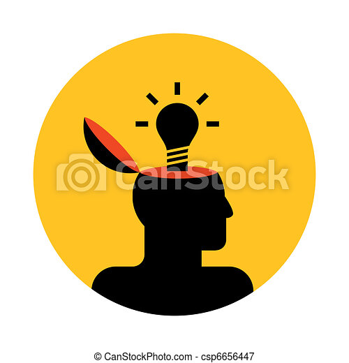 vector icon of human head with lamp - csp6656447