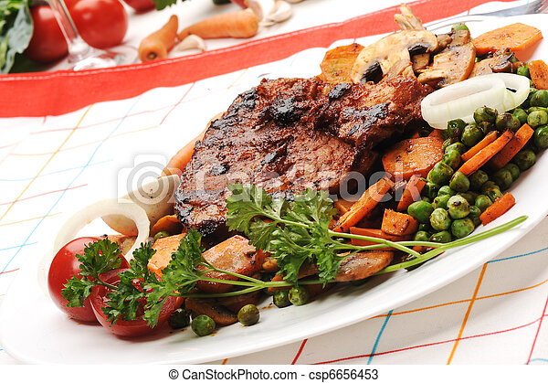 Meat with Vegetables and Greens - prepared and served meal - csp6656453