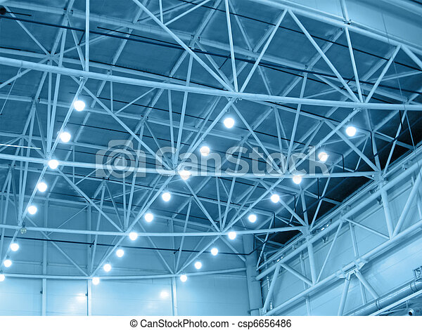 yellow interior warehouse lighting - csp6656486