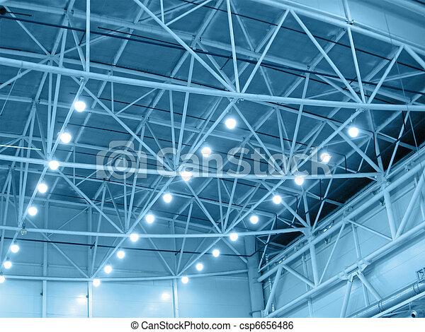 yellow interior warehouse lighting - csp6656486