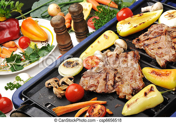 Barbecue, prepared beef meat and different vegetables and mushrooms on grill - csp6656518